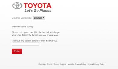 Toyota Feedback Survey