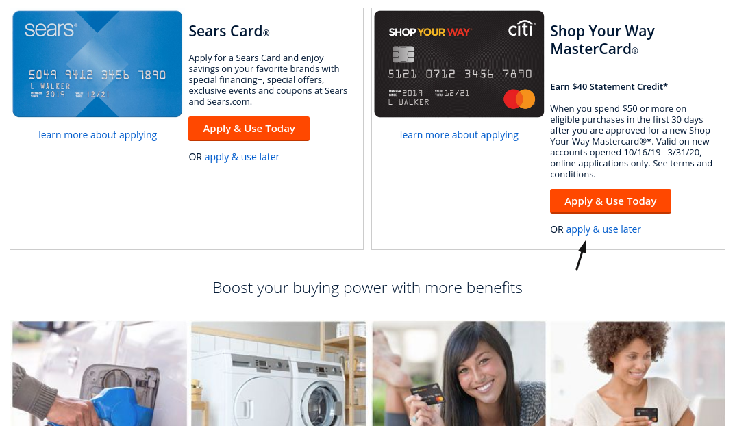 Sears Card Apply And Use