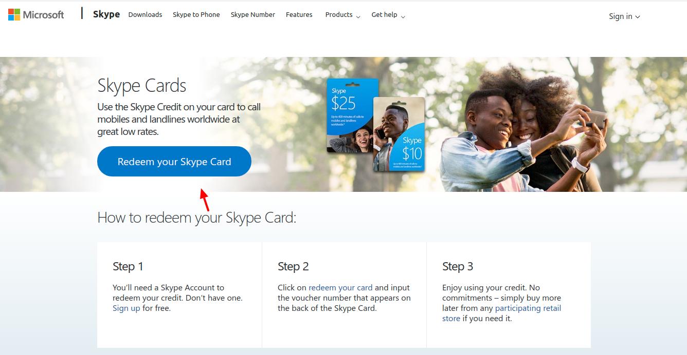 Skype Prepaid Card Redeem
