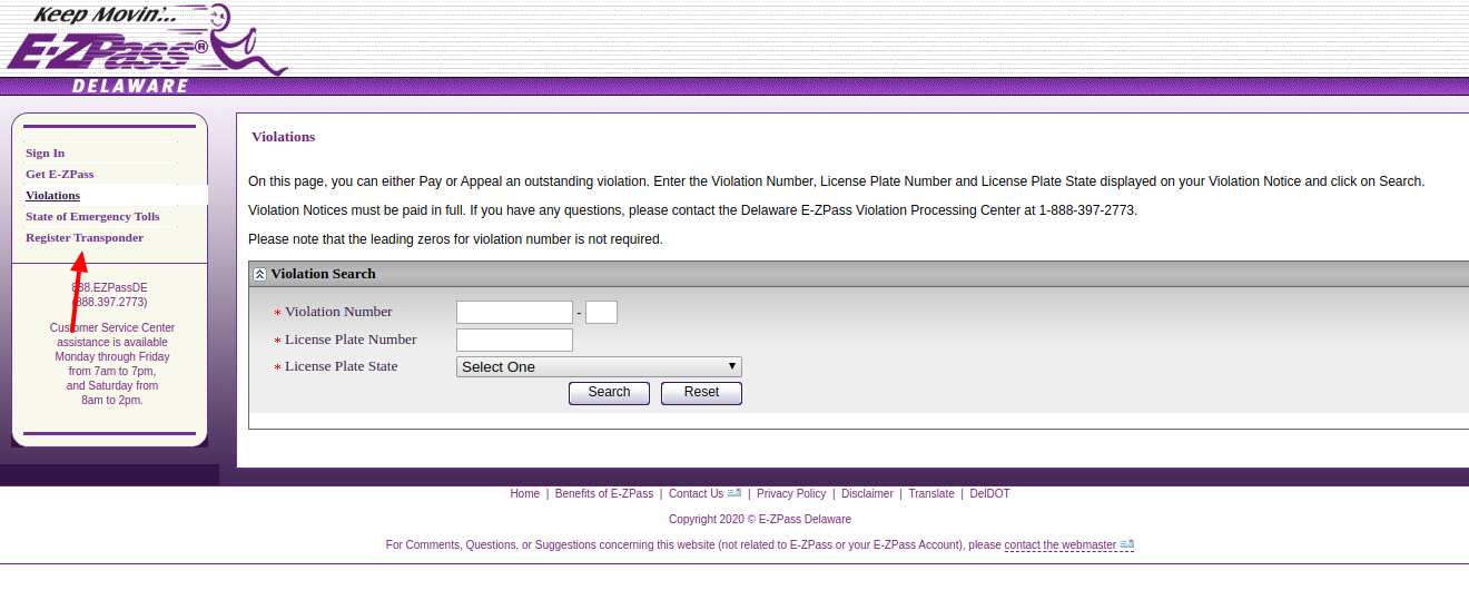 E ZPass Register