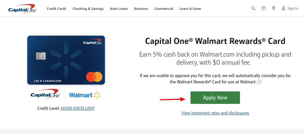 Capital One Walmart Rewards Card Apply