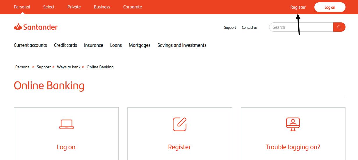 Santander UK Credit Card Register
