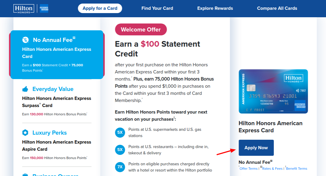 Hilton Honors American Express Card Apply