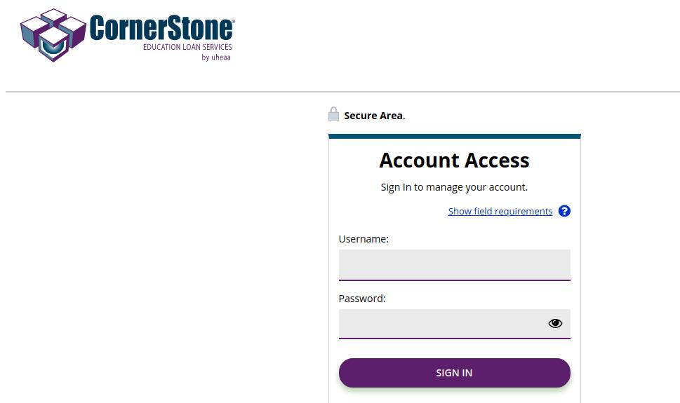 cornerstone loans login