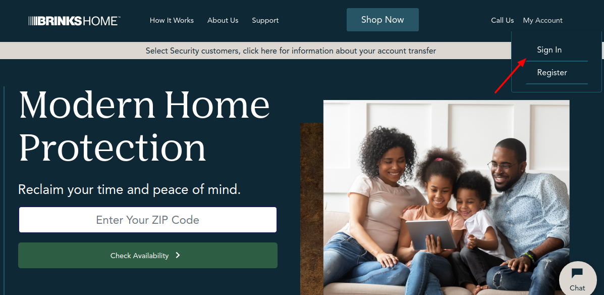 brinks home security login