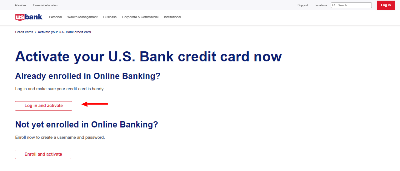 activate u s bank card